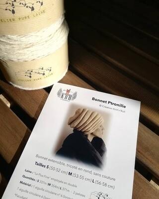 KIT Bonnet Ptronille - Création Knit'n'Roll
