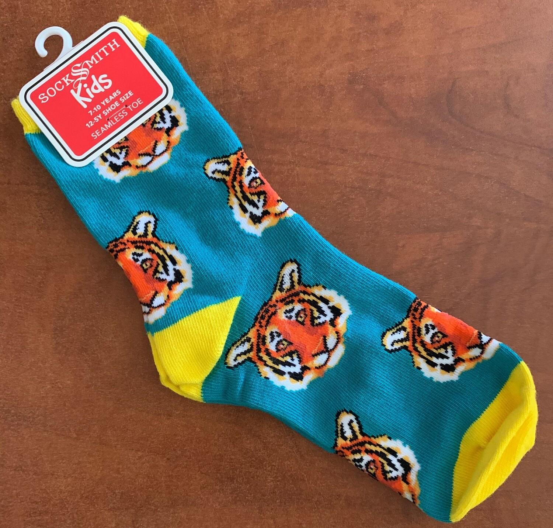 Child's Teal Tiger Socks
