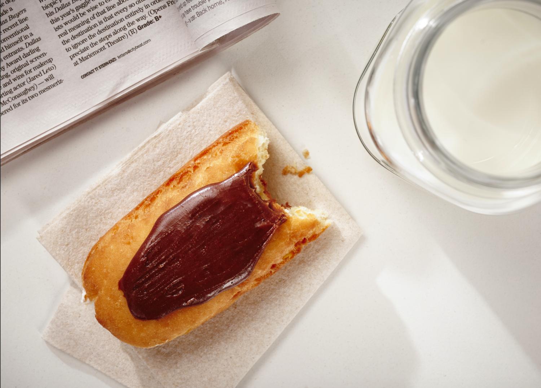 Long John Donut, Custard Filling, Chocolate Icing (Single Donut)