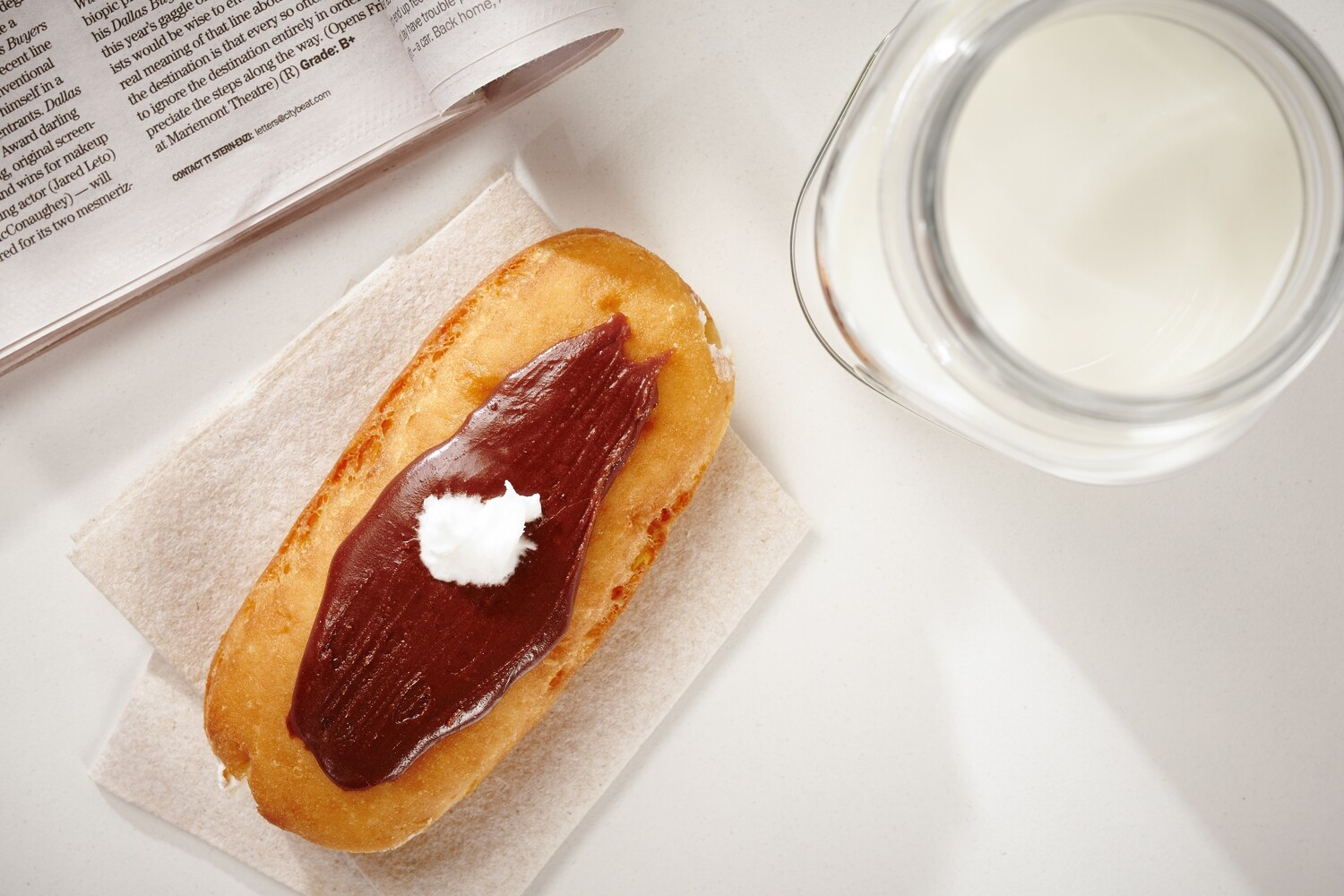 Long John Donut, White Cream Filling, Chocolate Icing (Single Donut)