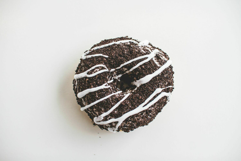 Vegan Vanilla Cake Donut, Glazed with Oreo Crumble (Single Donut)