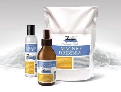 Rinkinys: magnio aliejus, gelis ir dribsniai