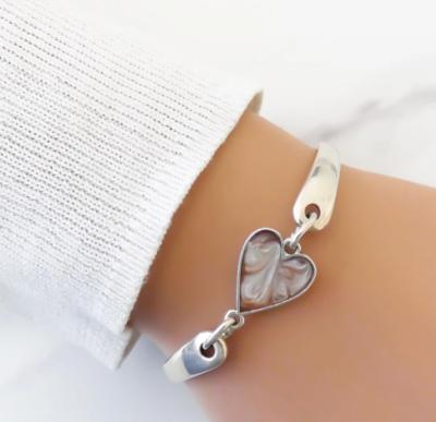 Orli Marble Heart Brangle Silver