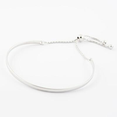 Virtue Exquisite Adjustable Plain Bangle Silver