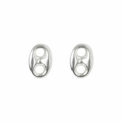 Virtue Coffee Bean Link Sterling Silver Earrings