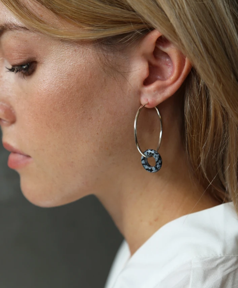 Tutti & Co Obsidian Earrings Silver