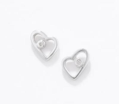 White Ice Sterling Silver Diamond Love Heart Diamond Earrings