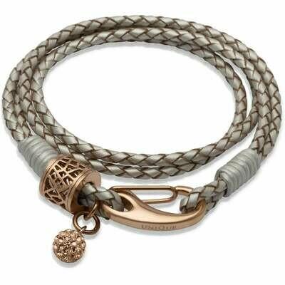 Unique & Co. Steel Leather Bracelet Pearl