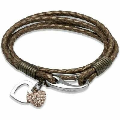 Unique & Co. Steel Leather Bracelet Bronze Rose Crystal Heart