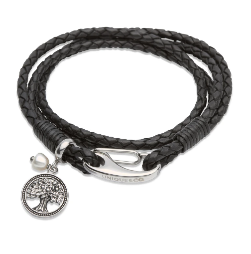 Unique & Co. Steel Leather Bracelet Black Pearl Tree Charm