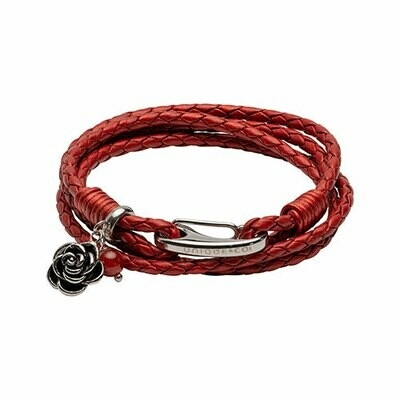 Unique & Co. Steel Leather Bracelet Red Rose Charm