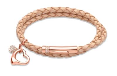 Unique & Co. Steel Leather Bracelet Natural Heart Charm