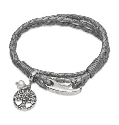 Unique & Co. Steel Leather Bracelet Silver Grey Pearl Charm