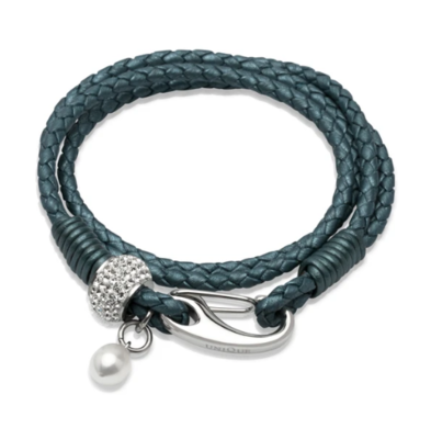 Unique & Co. Steel Leather Bracelet Truly Teal Pearl Charm