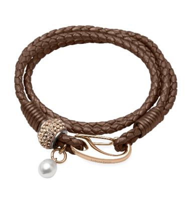 Unique & Co. Steel Leather Bracelet Bronze Pearl Charm
