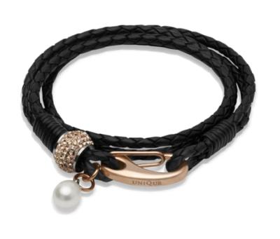 Unique & Co. Steel Leather Bracelet Black Pearl Charm