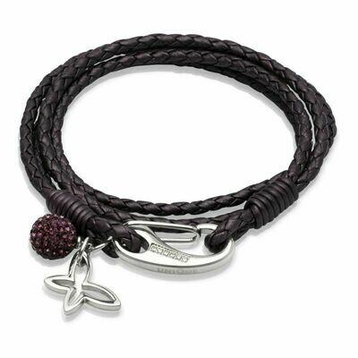 Unique & Co. Steel Leather Bracelet Berry Butterfly Charm