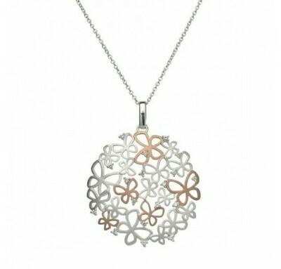 Unique & Co. Silver & Rose Gold Butterflies Necklace