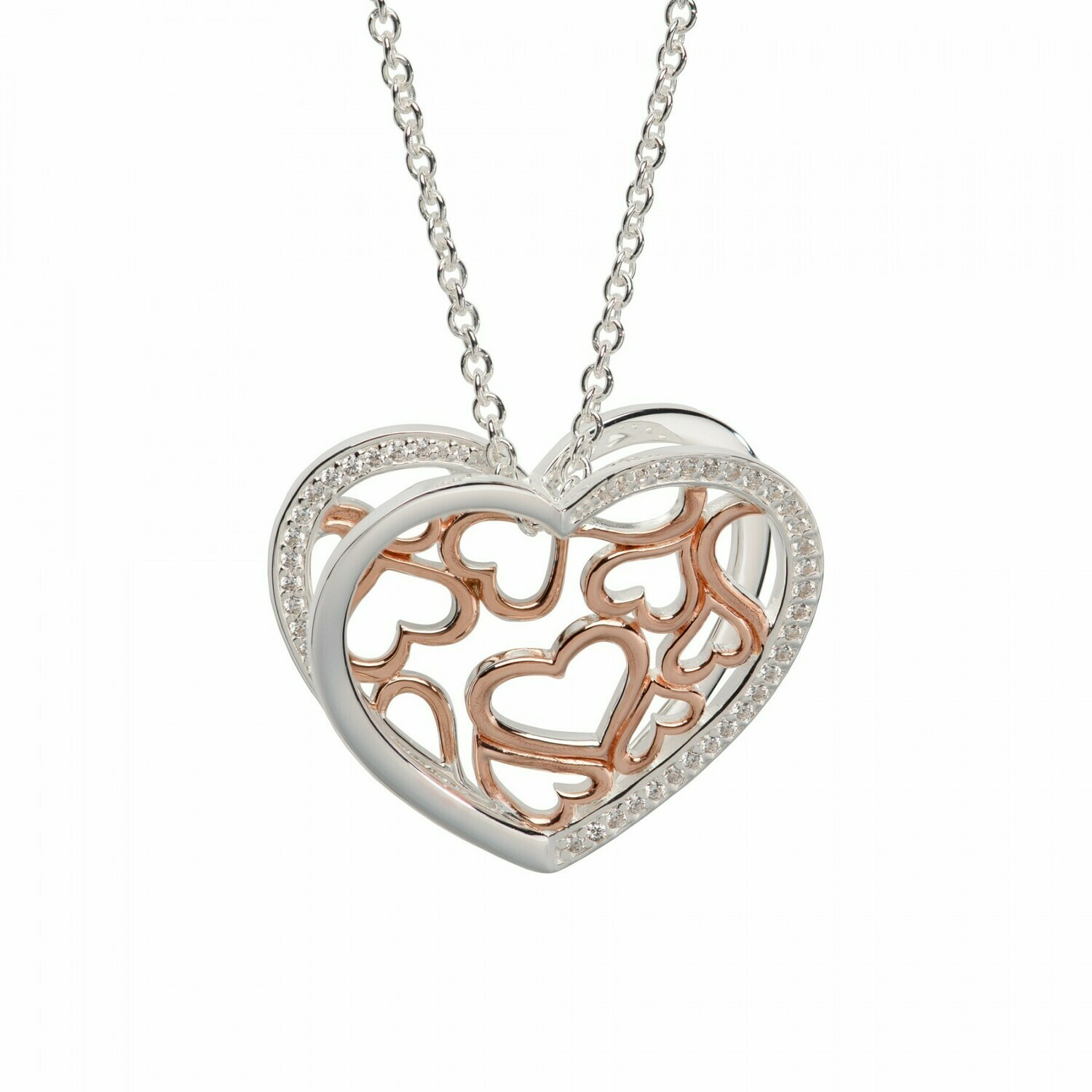 Unique & Co. 3D Rose Gold & Sterling Silver Hearts Necklace