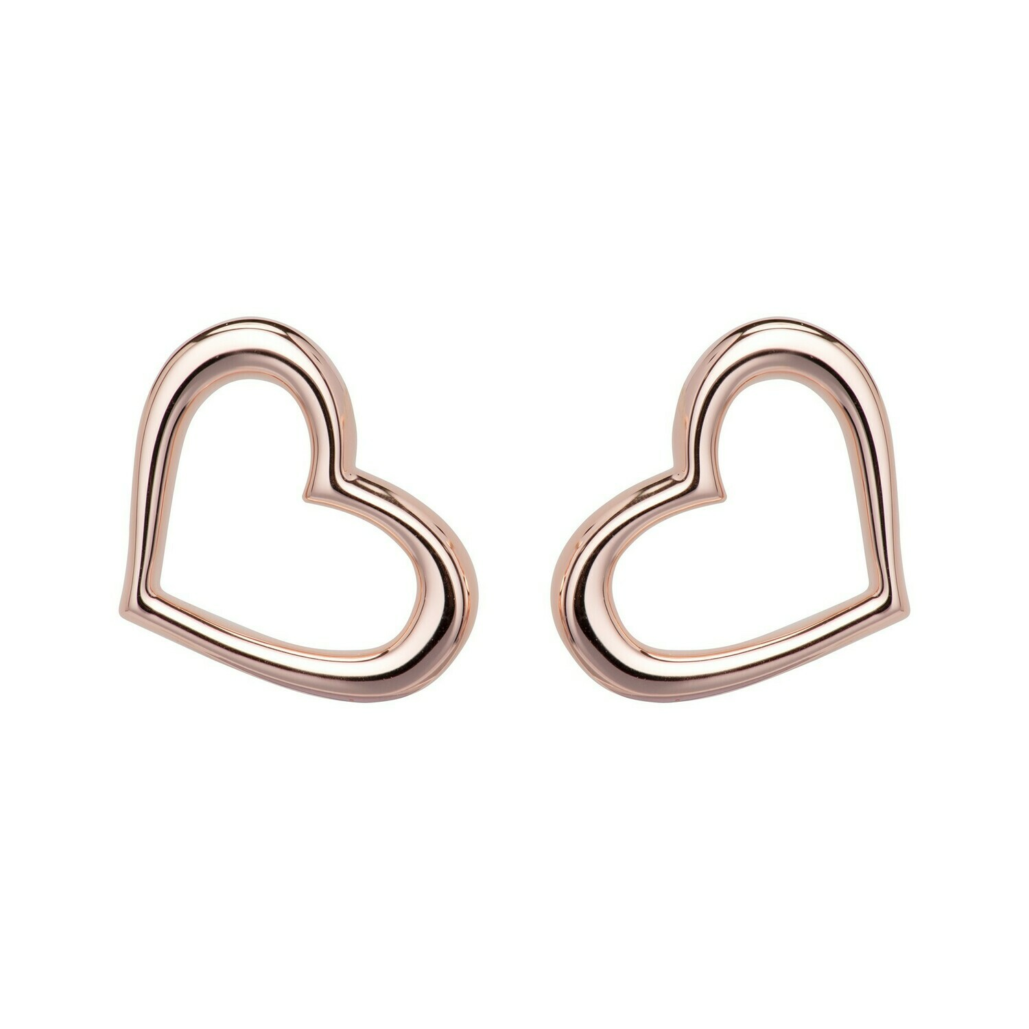 Unique & Co. Rose Gold & Sterling Silver Hearts Stud Earrings