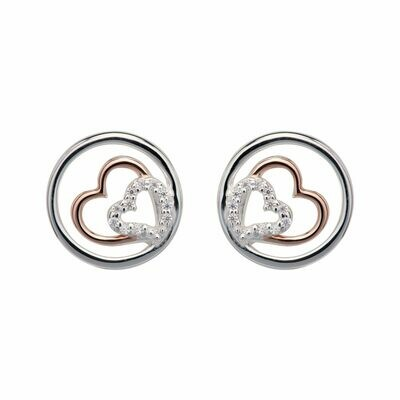 Unique & Co. Silver Cubic Zirconia Double Heart in Circle Stud Earrings