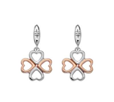 Hot Diamonds Lucky in Love Drop Earrings - Rose Gold Plate Accents