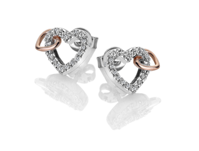 Hot Diamonds Togetherness Open Heart Earrings - Rose Gold Plate Accents