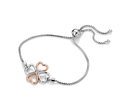 Hot Diamonds Lucky in Love Bracelet - Rose Gold Plate Accents