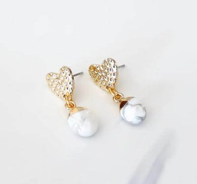 Orli Mottled Heart Stud Earrings with Howlite Stones, Yellow Gold