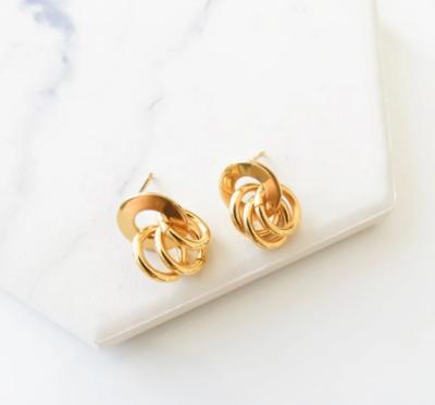 Orli Triple Looped Stud Earrings - Gold