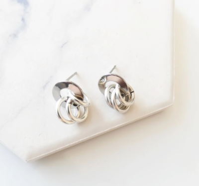 Orli Triple Looped Stud Earrings - Silver