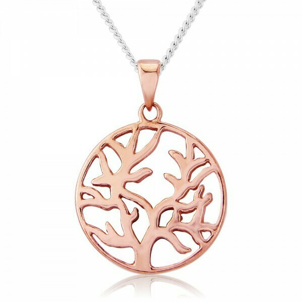 Trink Circle Tree of Life 9ct Rose Gold-Plated Necklace
