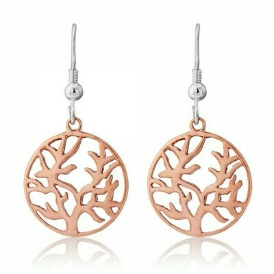 Trink Circle Tree of Life 9ct Rose Gold-Plated Earrings