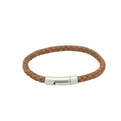 Unique & Co Tan Braided Leather and Steel Clasp Bracelet