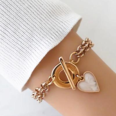 Orli Double Chain Marble Heart Bracelet - Rose Gold