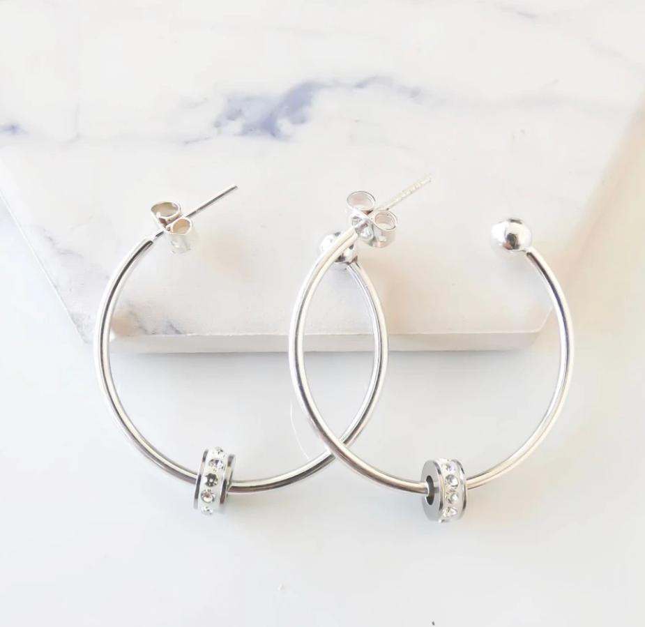 Orli Crystal Barrel Hoop Earrings