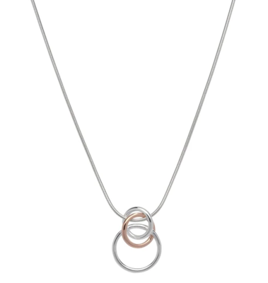 Unique & Co Silver and Rose Gold Circles Necklace