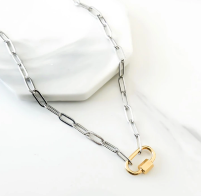 Orli Paperclip Chain Necklace with Oval Lock, Silver and Gold