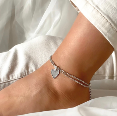 Orli Marble Heart Double Chain Anklet