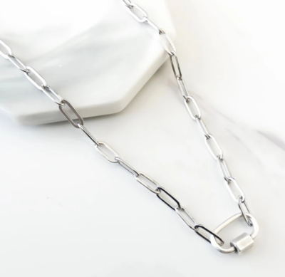 Orli Paperclip Chain Necklace with Oval Lock, Silver