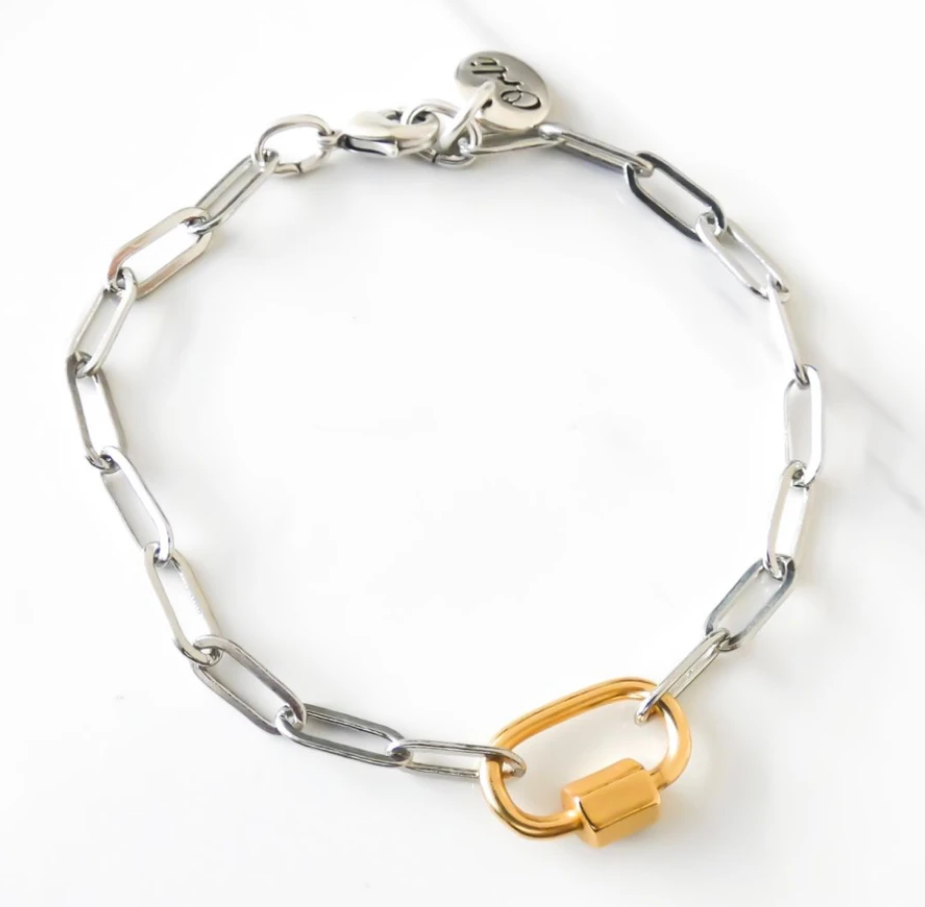 Orli Paperclip Chain Bracelet with Oval Lock, Silver and Gold
