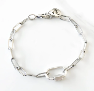 Orli Paperclip Chain Bracelet with Oval Lock, Silver