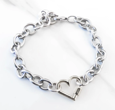 Orli Chunky Oval Chain Bracelet with Heart Lock, Silver