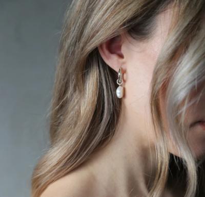 Tutti & Co Freshwater Pearl Earrings Silver