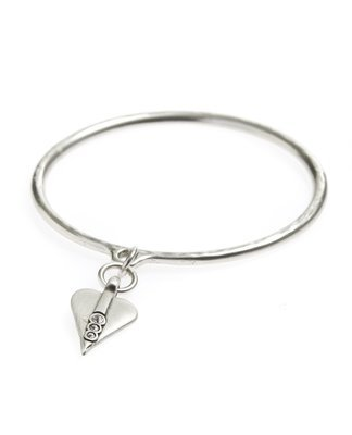 Danon Bangle With Heart and Three Crystals