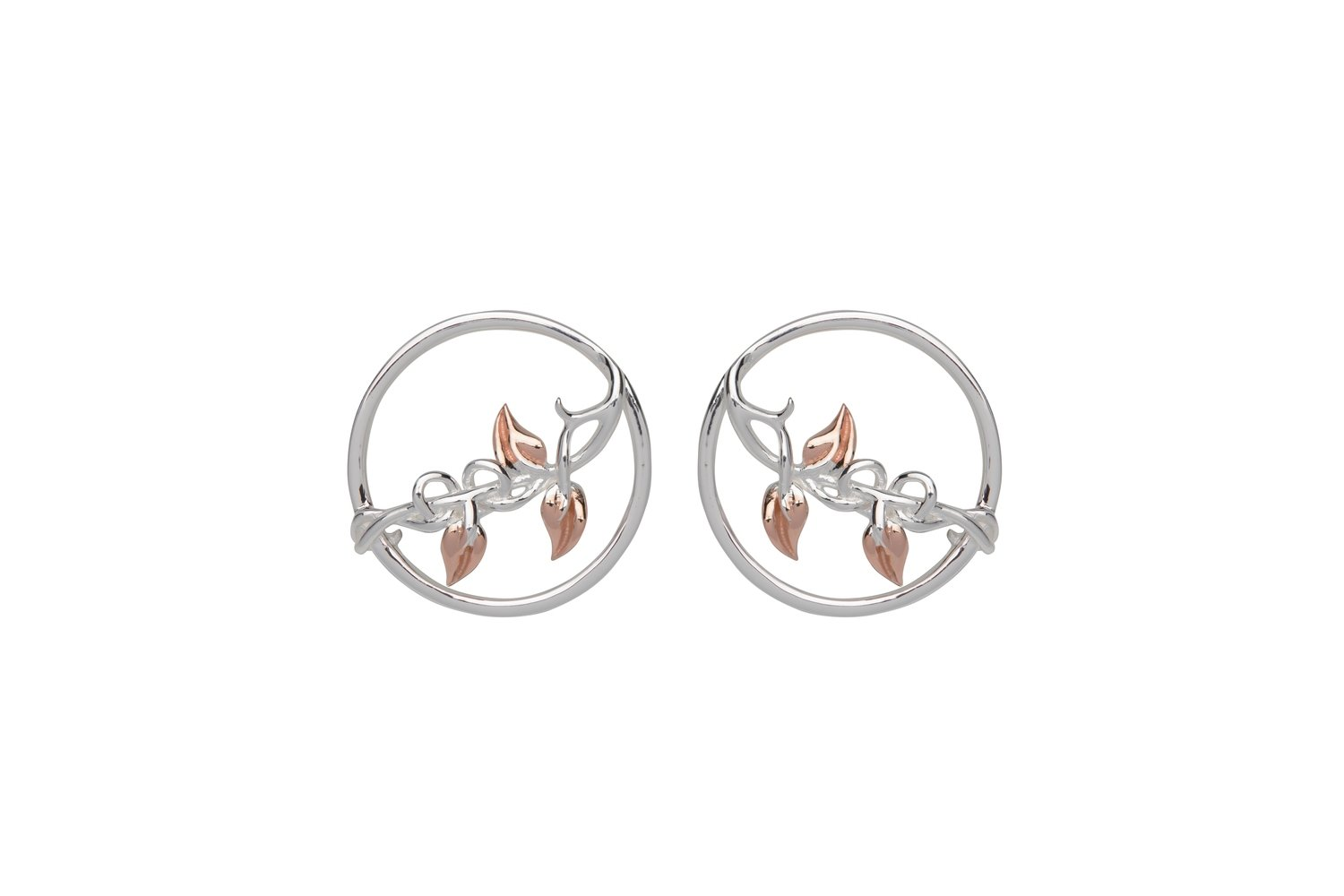 Unique & Co Silver and Rose Gold Leaf Studs