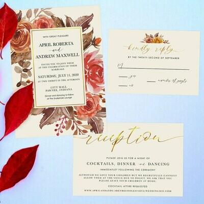 Autumn Flowers with Foil option Design