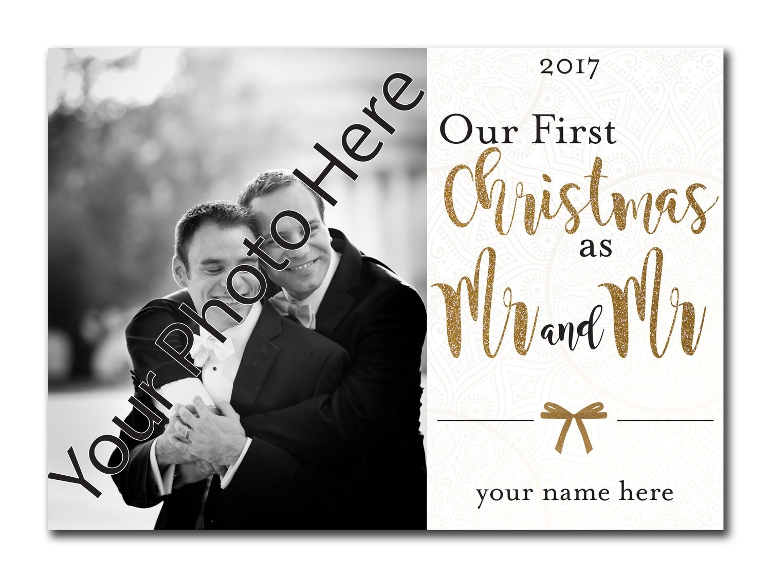 Our First Christmas as Mr. and Mr. 5x7