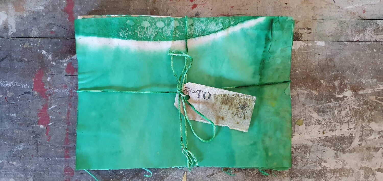Hand Dyed paper #2 Green (ish)