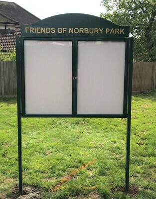 Standard wall or post mounted notice boards